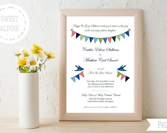 Love Birds Wedding Invitation, Bunting Flags Wedding, Wedding Invitation Digital File PDF Delivery
