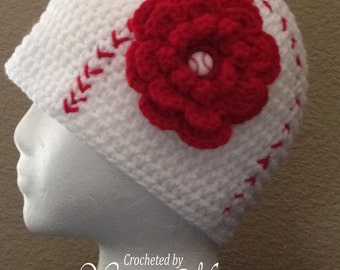 Let's Play Ball -  Crocheted Girl's Baseball Hats with Flower - Made to Order from  Newborn, Toddler, Child, Teen & Adult Sizes