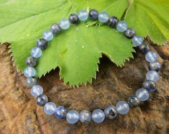 """Jewels, bracelet, power bracelet, """"Merlin"""" Lapis Lazuli, chalcedony, Reiki, Waldorf,."""