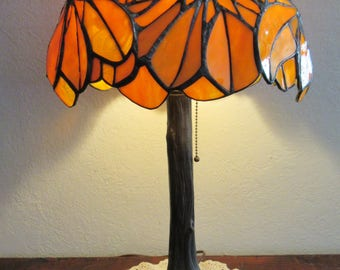"Tiffany Style Lamp ""Chestnut"" Amber Sculptural Tree Lamp (Made to Order Only)"