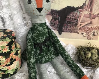 Cat Doll Green Floral