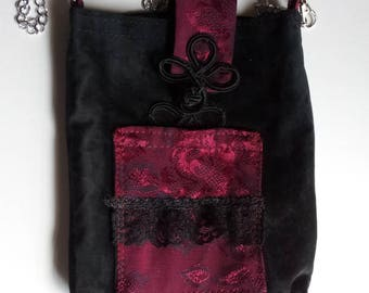 Upcycled Crossbody Cell Phone Bag, 100% Black Suede with Oriental Flair