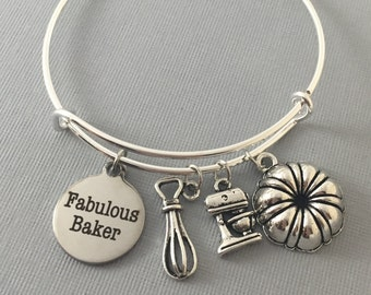 Baker Gift - Gift for Baker - Bake - Charm Bracelet - Bangle Bracelet - Bakers Gonna Bake - Baker Jewelry - Cupcake Jewelry - Mothers Day