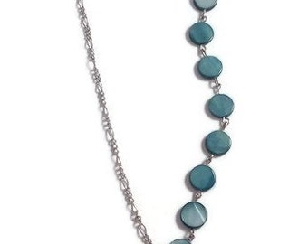 Asymmetrical gold chain necklace ball round turquoise mother-of-Pearl and turquoise marble cylindrical precious semi stone