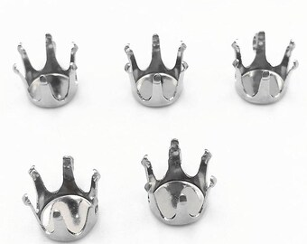 Wholesale 100 316L Stainless Steel Prong Setting Blanks fit with 3mm/ 4mm/ 5mm/ 6mm/ 7mm/ 8mm/ 10mm Round Rhinestone/ Gems