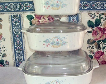 Corning Ware 3 Piece Set Country Cornflower Casserole Dishes, Matching Clear Pyrex Lids, White with Summer Flowers, Never Been Used,