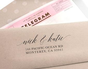 Custom Address Stamp, Self Ink Return Address Stamp, Personalized Address Stamp, Self Ink Custom Address Stamp, Calligraphy Wedding Gift