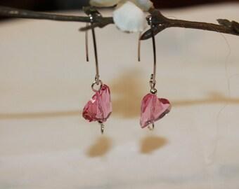 Pink Swarkovski crystal heart marquise earring.