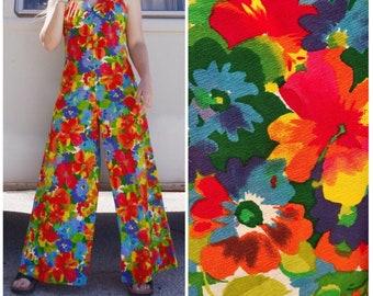 Vintage 60s Jumpsuit, 70s Jumpsuit, Floral Jumpsuit Palazzo, Hawaiian, colorful Romper, Flare, Wide Leg, Disco, Retro, hippie, festival