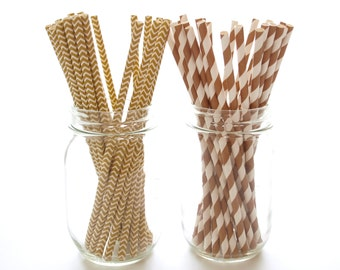 Gold Brown Paper Straws, Wedding Party Straws, Thanksgiving Party Supplies, 50 Pack - Gold Brown Chevron & Stripe Straws