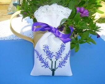 Lavender sachet embroidered lace trim