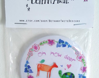 Oh how deer pocket mirror with flowers