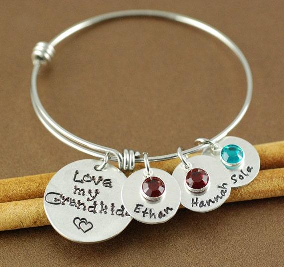 Grandma Bangle Bracelet, Hand Stamped Bangle Bracelet, Adjustable Bangle Bracelet, Personalized bracelet, Charm Bracelet, Grandkids Bangle