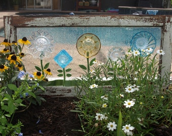Stained Glass Mosaic Repurpose Wooden Window Plate Flowers Vintage