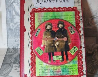 Altered Christmas Book-  Altered Doll Book- Mixed Media Decorative Book- Vintage Ephemera -