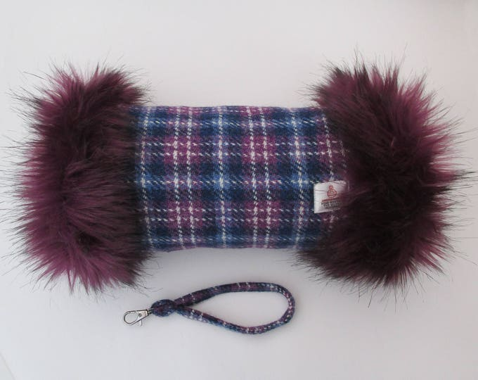 Harris Tweed Purple & Blue Check Hand Muff with Aubergine Faux Fur Trim