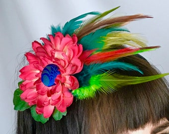 Red Green Flower Feather Hair Clip Fascinator Covered Button Wedding Bridesmaid Graduation Prom One of a Kind Headpiece Unique Original
