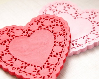 """25 - 6"""" RED HEART Paper Lace Doilies"""