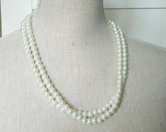 Two strand white glass pearl necklace unique for wedding, Bridesmaid Gifts, Mother of the Bride, bridesmaid gift, bridesmaid necklace