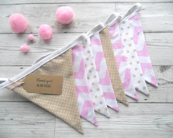 Pink and Beige Bunting