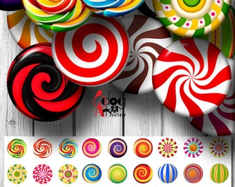 """Peppermint Candy Digital Collage Sheets Printable Downloadable 1.85"""", 1.629"""" and 1.313"""" Circles for 1.5"""", 1.25"""" and 1"""" Buttons JC-028B"""