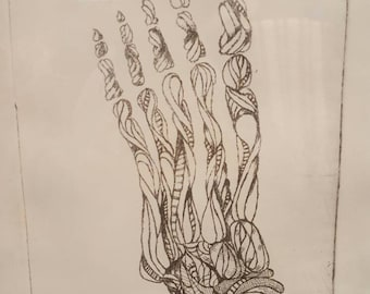 Skeletal Foot Original Etching Intaglio