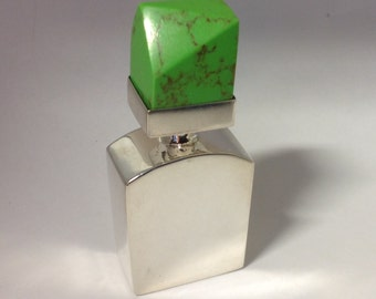 Sterling Silver Sleek Modernist Design Perfume / Scent Bottle, Taxco Mexico 925 TH-112 with Green Lid