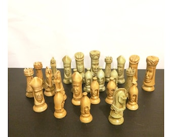 Mid-Century Modern Duncan Medieval Ceramic Chess Pieces Signed