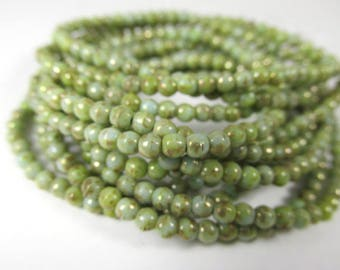 3mm Mint Green Gold Picasso Gold Czech round druk jewelry beads - 5 inch strand of 50 beads