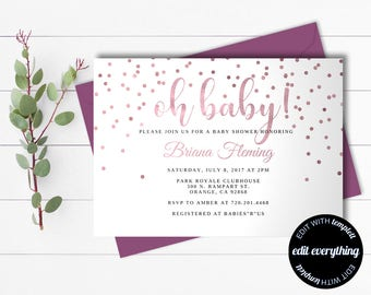Rustic floral baby shower invitation template rustic baby pink baby girl shower invitation template girl baby shower template instant download baby shower invite editable filmwisefo Image collections