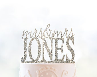Custom Wedding Name Cake Topper, Lesbian Wedding Cake Topper, Gay Wedding Decor, Gay Cake Topper, Mrs and Mrs Wedding Cake Topper (T155)