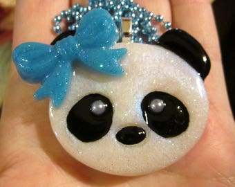 Panda Bear Necklace-Blue Bow-Kawaii Panda Jewelry-Handmade Resin Pendant Jewelry