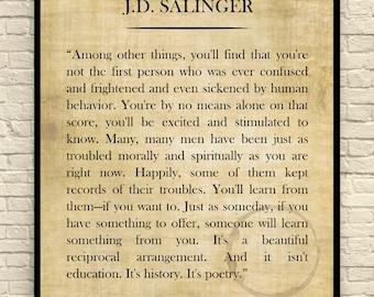 J.D. Salinger Art Print, J.D. Salinger Quote, Custom Art Print, Book Page Art Print, Wall Art, Literary Print, Literary Quote