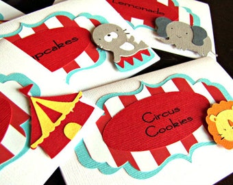 Circus Food Labels, Circus Place Cards, Carnival Food Labels, Circus Birthday Party, Carnival Buffet Cards, Circus Menu Cards, Carnival