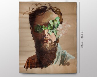 Bearded hipster man with clovers on the eyes portrait painting. Acrylic art poster.