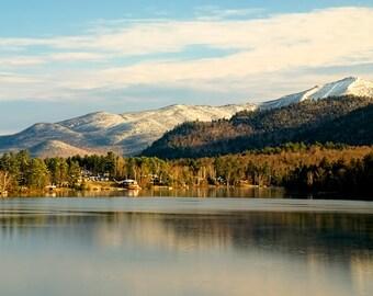 Adirondack Mountain Photography Print, Lake Placid, Mirror Lake, Whiteface Mountain, Adirondack Decor, Lake Placid Art, Adirondack Print