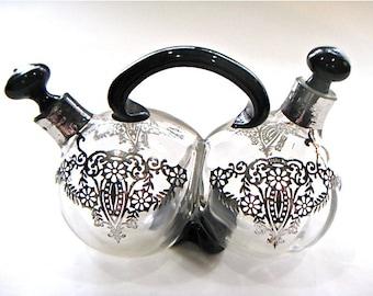Vintage BlownGlass Silver Inlay Oil & Vinegar Cruet