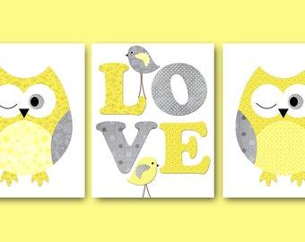 Kids Wall Art Owl Nursery Owl Decor Baby Nursery Decor Baby Boy Girl Nursery Kids Art Baby Room Decor Nursery Print set of 3 Yellow Gray /