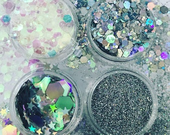4 Pots of chunky cosmetic glitter sequins face body hair boobs nail art party makeup unicorn eyes festival bridesmaids bride to be