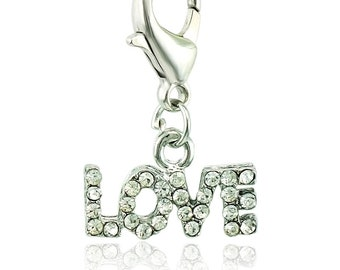 Rhinestone Love Charms - Clip-On - Ready to Wear - Pink or Clear Rhinestones