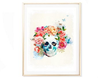 Skull Art Print, Watercolor Skull Print, Floral Skull Print, Skull Wall Decor, Watercolor Poster, Watercolor Wall Decor, Watercolor Art
