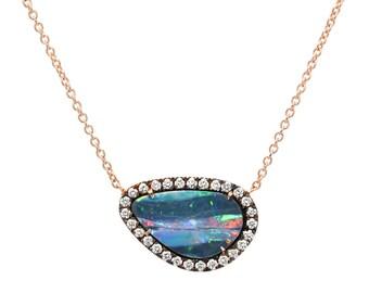 Opal Necklace, Pave Diamond Opal Necklace, Black Opal Necklace, Diamond Halo Opal Necklace, Rose Gold Opal Necklace, Boho Necklace, NIXIN