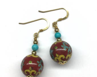 Cloisonne Earrings, Chinese Cloisonne Earrings, Turquoise Earrings, Vintage Chinese Cloisonné Bead from the 70's and Turquoise Bead Earrings