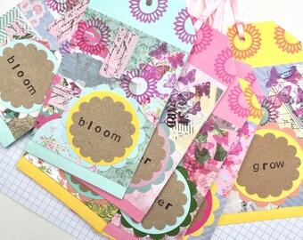 Handmade gift tags , flower themed hanging tag , bloom , grow , flower , pastel themed journal idea , flower wedding idea , garden themed