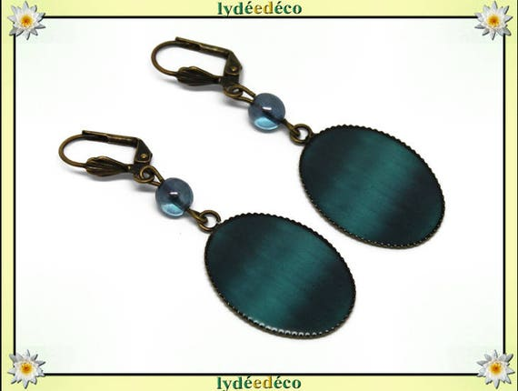 Earrings retro turquoise blue green vintage brass duck resin pendants 18 x 25mm glass beads