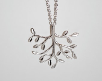 Modern Tree Branch necklace, silver branch necklace, matte branch, simple necklace, bridesmaid gift,