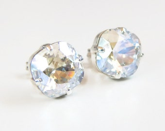 Iridescent crystal stud earrings - crystal earrings - crystal studs - bridal earrings - bridesmaid earrings - clear crystal - Swarovski