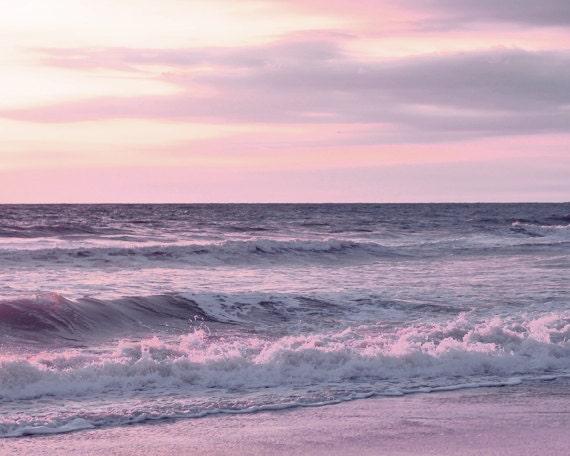Lavender Beach Art Pink Sunset Photo Print Large Ocean