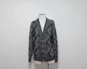 Vintage 90s Cardigan Sweater, Knit Cardigan, Black Sweater, Grandpa Cardigan, Button Up Sweater, Slouchy Sweater, Abstract, Geometric, Large