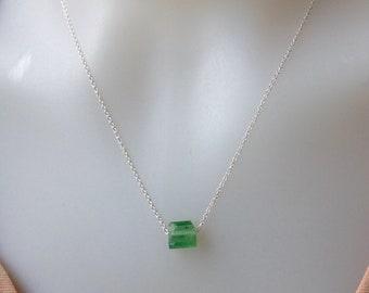 Green Tourmaline Necklace, Watermelon Tourmaline Nugget Pendant,October Birthstone Necklace,Green Tourmaline Pendant, Gift for Granddaughter
